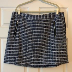 LOFT Plus Blue Twill Skirt with Zip Pockets
